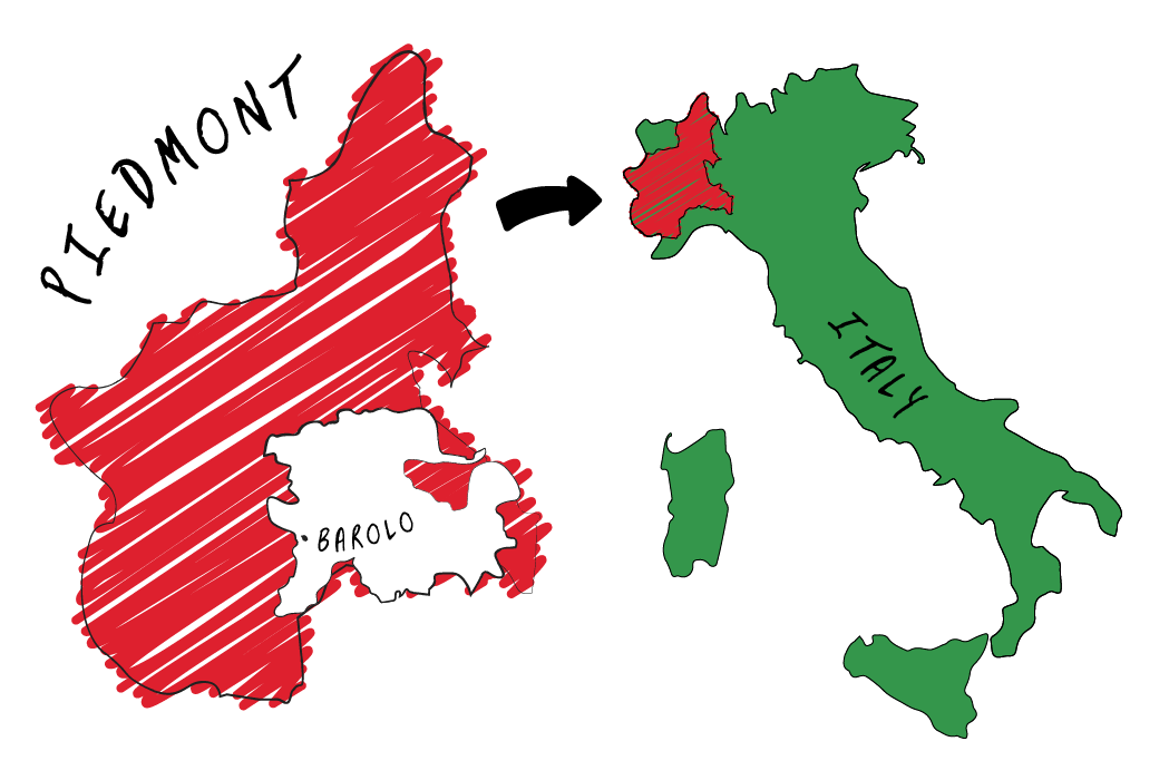 wine map - piedmont and barolo